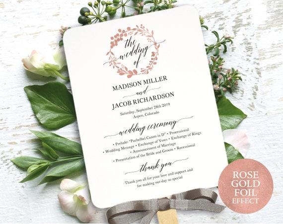 Rose Gold Wedding Program Fan Template, Printable Program Fan, Rose Gold Wedding Fan Printable, Ceremony Fan, PDF Instant Download, MM07-7
