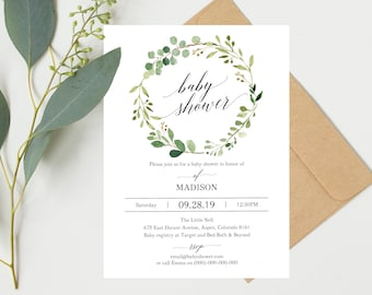Baby shower invitation etsy greenery baby shower invitation template printable baby shower invite floral baby shower invitation template stopboris Image collections