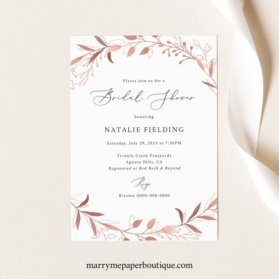 Bridal Shower Invite Template, TRY BEFORE You BUY,  Editable Instant Download, Rose Gold
