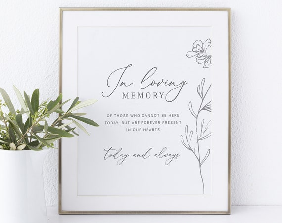 In Loving Memory Sign Template, Non-Editable Instant Download, Botanical Floral
