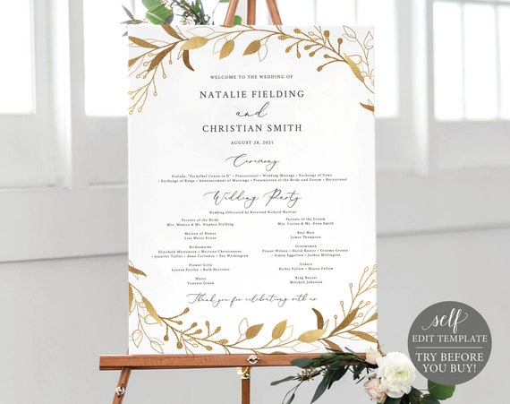 Wedding Program Sign Template, Gold Foliage, TRY BEFORE You BUY, Editable Instant Download