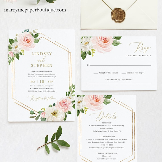 Wedding Invitation Set Templates, Pink Floral Hexagon, TRY BEFORE You BUY, Editable Instant Download