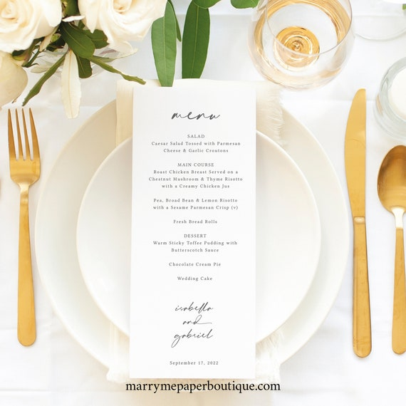 Menu Template, Handwritten Style Font, Editable & Printable Instant Download, Templett, Try Before You Buy