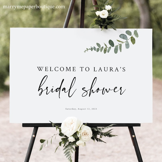 Bridal Shower Welcome Sign Template, Eucalyptus Greenery, Modern Bridal Shower Sign, Printable, Editable, Templett INSTANT Download