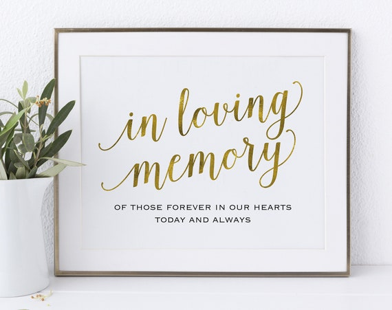 Gold In Loving Memory Sign, In Our Hearts, Wedding Sign, Memorial Sign, Loving Memory Sign, Wedding Printable, PDF Instant Download, MM01-3
