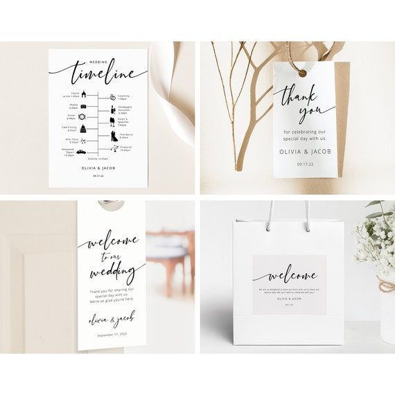 Wedding Guest Welcome Bundle Template Set, Modern Calligraphy, Printable, Editable, Wedding Bundle, Templett INSTANT Download