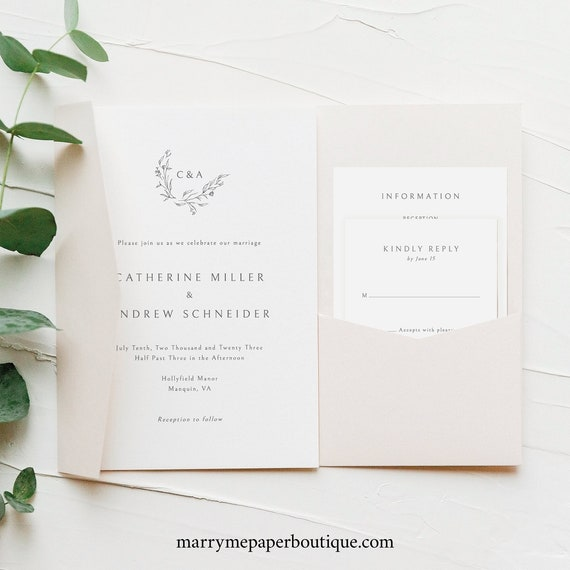 Wedding Invitation Template Set Pocketfold, Editable & Printable, Templett Instant Download, Demo Available, Elegant Monogram Design