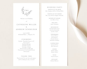 Wedding Program Template, Elegant Monogram Design, Demo Available, Editable & Printable, Templett Instant Download