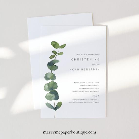 Christening Invitation Card Template, Elegant Eucalyptus, Printable Christening Invite, Girl or Boy, Templett INSTANT Download, Editable