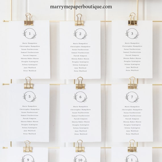 Wedding Seating Cards Template, Circle Monogram, Seating Chart Cards, Printable, Fully Editable, Templett INSTANT Download