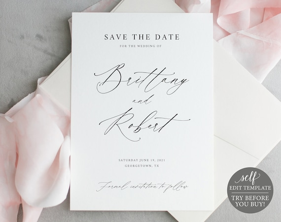 Save the Date Template, Stylish Script Font, 100% Editable Instant Download, TRY BEFORE You BUY