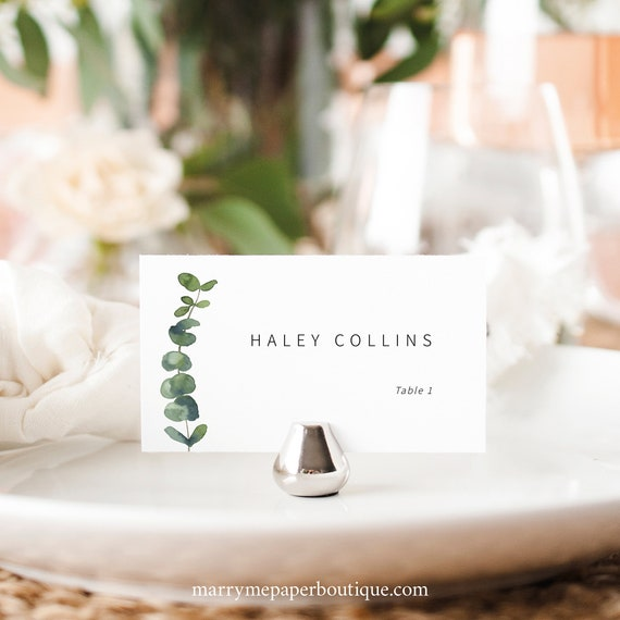 Wedding Place Card Template, Elegant Eucalyptus, Greenery Place Card Printable, Editable, Flat & Tent, Templett INSTANT Download