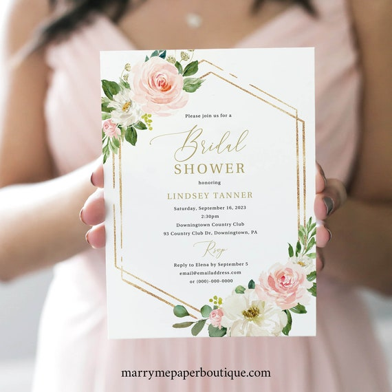 Bridal Shower Invitation Template, TRY BEFORE You BUY, Editable Instant Download, Pink Floral Hexagonal