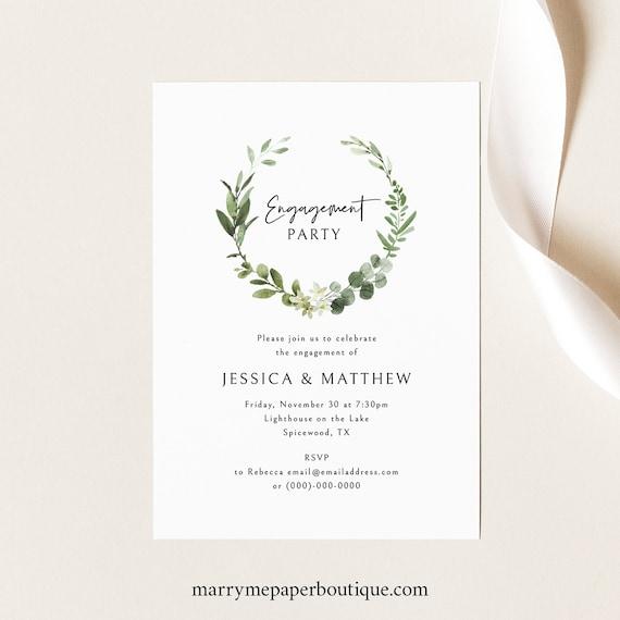Engagement Party Invitation Template, Elegant Greenery Engagement Party Invite, Printable, Editable, Templett INSTANT Download
