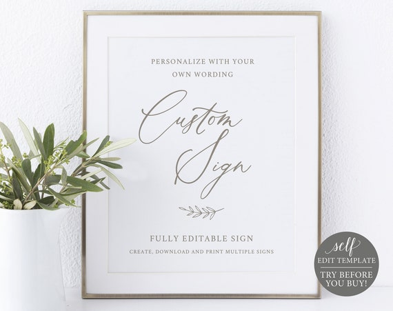 Create Multiple Wedding Signs Template, TRY BEFORE You BUY, 100% Editable Instant Download, Calligraphy