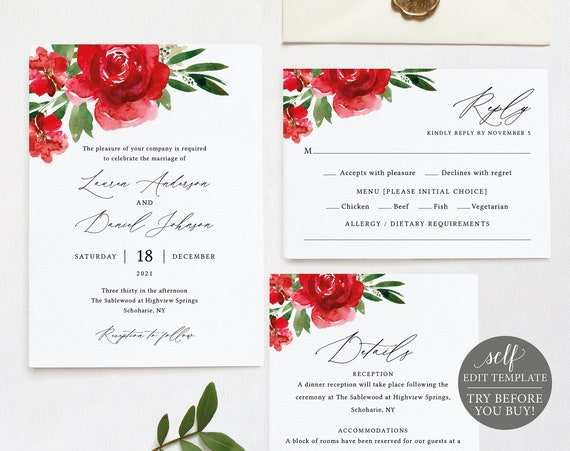 Wedding Invitation Template Set, Red Floral, Free Demo Available, Editable Instant Download