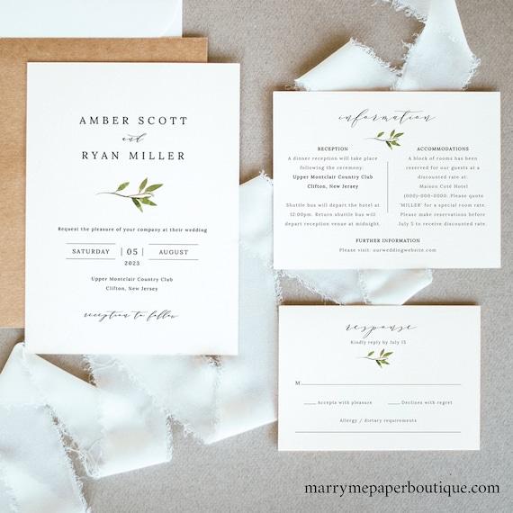 Greenery Wedding Invitation Template Set, Green Leaf Invitation Printable, Details & RSVP, Templett Editable, Instant Download
