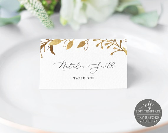 Place Card Template, Gold Wreath, TRY BEFORE You BUY, 100% Editable Instant Download
