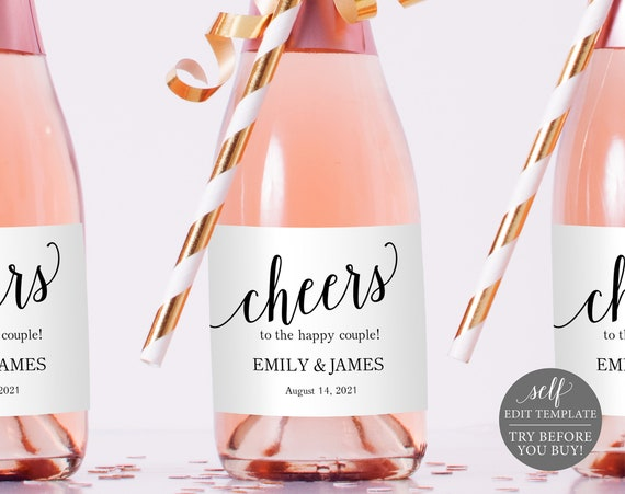 Mini Champagne Bottle Label Template, TRY BEFORE You BUY, Modern Script, Editable Instant Download