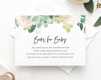 Succulent Floral Books for Baby Template, Green & Blush Insert Card Printable, Templett Editable, Instant Download