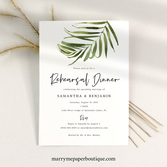 Rehearsal Dinner Invitation Template, Tropical Leaf Greenery, Printable Rehearsal Invite, Editable, Templett INSTANT Download