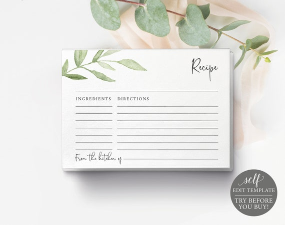 Recipe Card Template, Greenery Leaves, Editable & Printable, Instant Download, Templett, Try Before Purchase