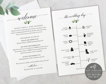 Timeline & Welcome Card Template, TRY BEFORE You BUY, Greenery Wedding Printable,  Editable