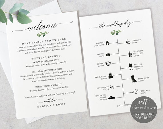 Timeline & Welcome Card Template, TRY BEFORE You BUY, Greenery Wedding Printable, 100% Editable