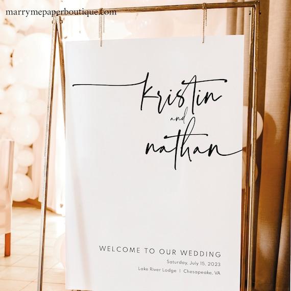 Wedding Welcome Sign Template, Modern Contemporary, Welcome To Our Wedding Sign, Elegant, Printable, Clean Simple, Templett INSTANT Download