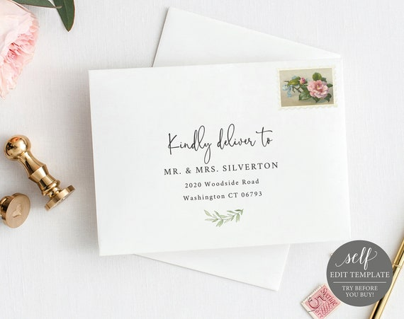 Envelope Address Template, TRY BEFORE You BUY, 100% Editable Instant Download, Greenery Leaves