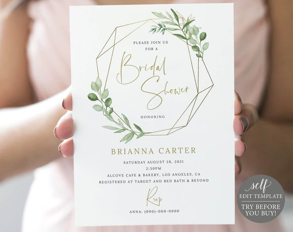 Bridal Shower Invite Template, Editable Printable Instant Download, Greenery & Gold