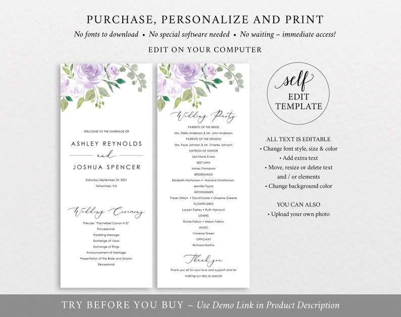 Lilac Floral TRY BEFORE You BUY Editable Instant Download Wedding Program Template