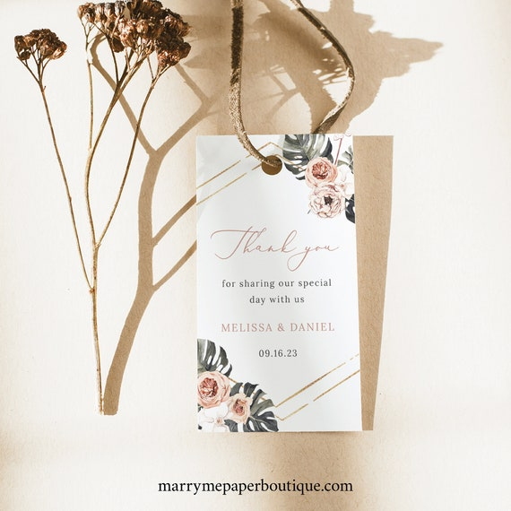 Wedding Favor Tag Template, Tropical Leaf, Dusky Pink Flowers, Wedding Tag Printable, Rectangular Favor Tag, Templett INSTANT Download