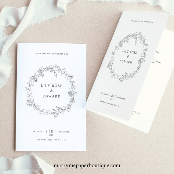 Wedding Program Template, TRY BEFORE You BUY, Editable Ceremony Printable, Instant Download