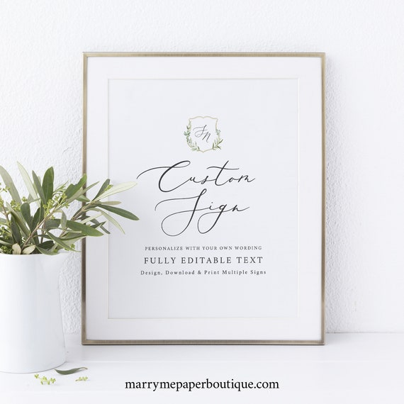 Wedding Sign Bundle Template, Greenery Wedding Crest, Elegant Wedding Signs, Editable, Printable, Templett INSTANT Download