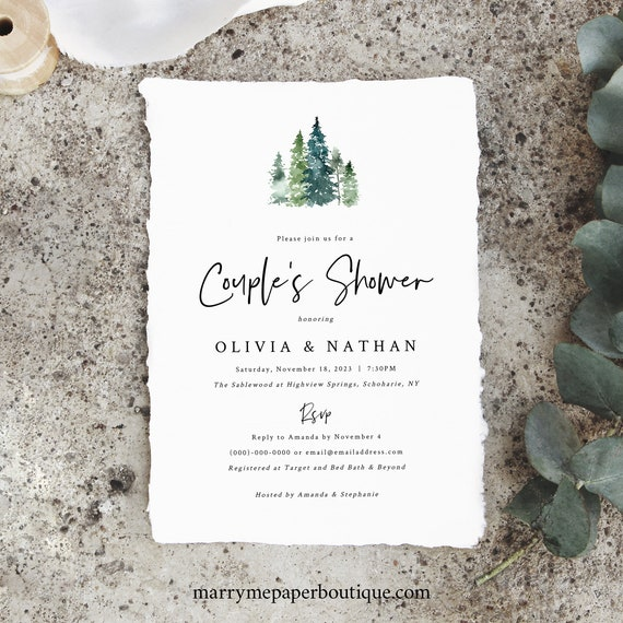 Pine Forest Couples Shower Invitation Template, Shower Invite, Printable, Rustic Pine Trees, Templett, Editable, INSTANT Download