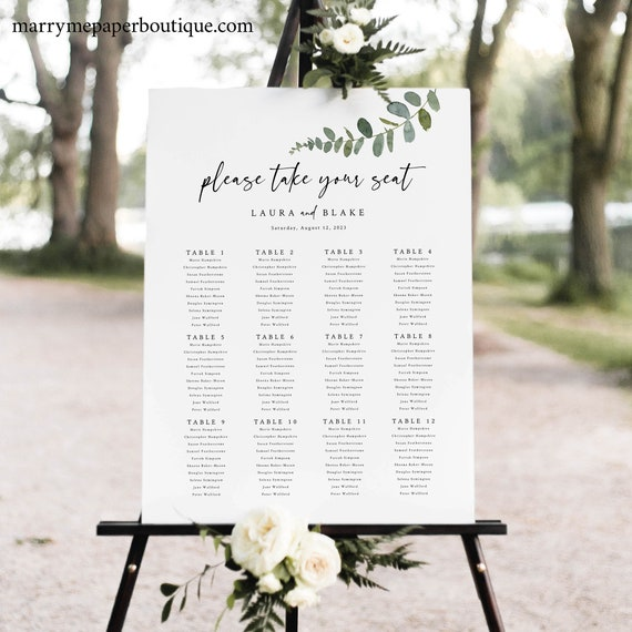 Eucalyptus Seating Chart Template, Greenery Wedding Seating Plan Printable, Editable Templett, Instant Download, Try Before Purchase