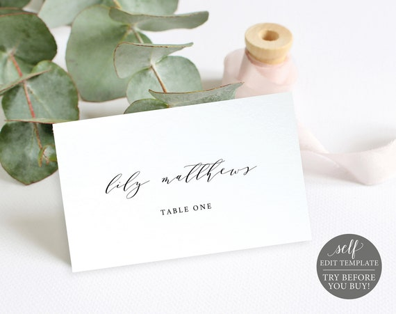 Place Card Template, 100% Editable, Folded, TRY BEFORE You BUY, Instant Download