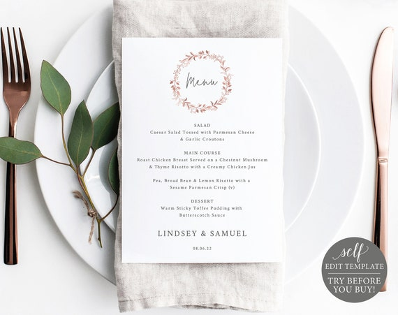 Menu Template 5x7, Order Edit & Download In Minutes, Try Before Purchase, Rose Gold Wreath