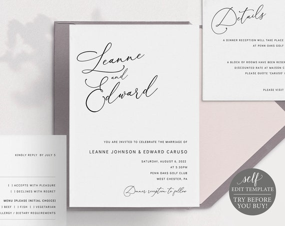 Wedding Invitation Template Suite, Minimalist Portrait, Editable & Printable Instant Download, Templett