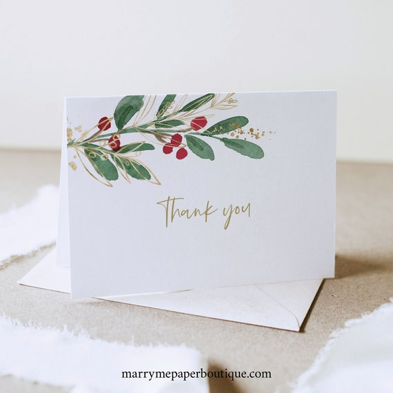 Winter Wedding Thank You Card Template, Folded Thank You Card Printable, Christmas Wedding, Templett,  Editable, INSTANT Download