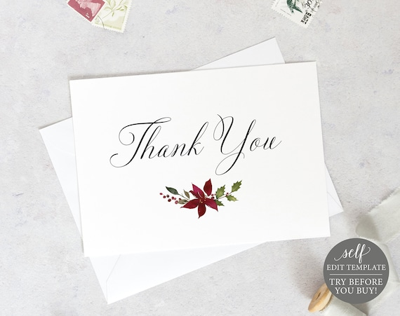 Thank You Card Template, Editable Instant Download, Folded Christmas Design, TRY BEFORE You BUY