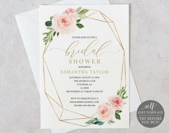Bridal Shower Invitation, Printable Bridal Shower Invite 100% Editable Template, Instant Download, Geometric, Pink, Blush, Gold, Floral