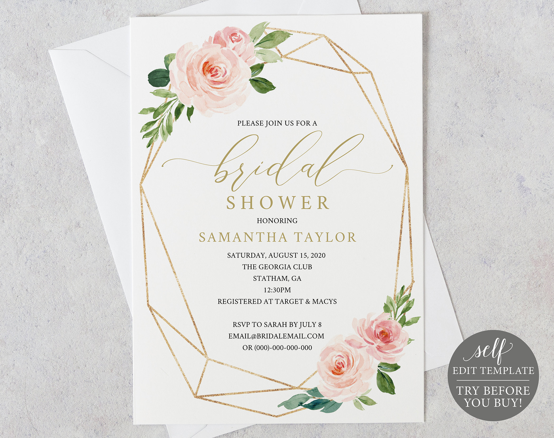 image relating to Bridal Shower Invitations Printable known as Bridal Shower Invitation, Printable Bridal Shower Invite 100% Editable Template, Immediate Down load, Geometric, Purple, Blush, Gold, Floral
