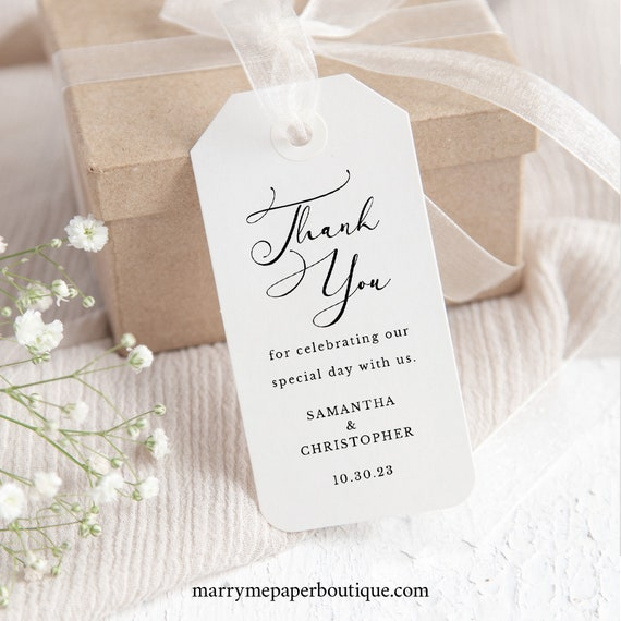 Calligraphy Wedding Favor Tag Template, Classic Gift Tag, Printable, Fully Editable, Templett INSTANT Download