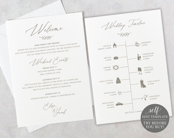 Wedding Itinerary Template, Elegant Font, 5x7 Editable Instant Download, TRY BEFORE You BUY