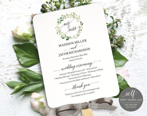 Greenery Wedding Printable Program Fan, Printable Program Fan Template, Printable Wedding Fan, Garden Wedding, Instant Download