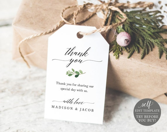 Thank You Favor Tag Template, TRY BEFORE You BUY, 100% Editable Instant Download, Greenery Wedding Tag Printable