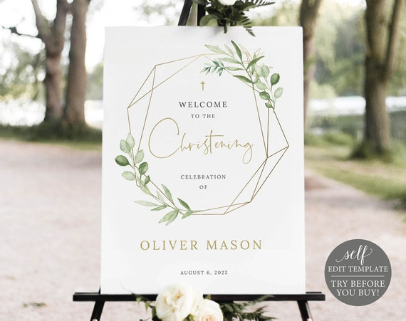 Christening Welcome Sign Template, Greenery Gold, Demo Available, Printable & Editable Instant Download