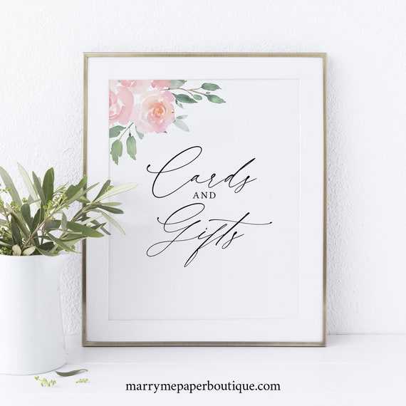 Cards & Gifts Sign Template, Elegant Blush Floral, Instant Download, Non-Editable